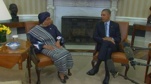 President Obama thanks Liberian president for helping quell Ebola crisis